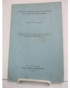 A Study of the Quality of English in Latin Translations.