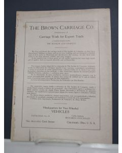 The Brown Carriage Co., Manufacturers of Carriage Work for the Export Trade as formerly manufactured by The Sechler and Company.